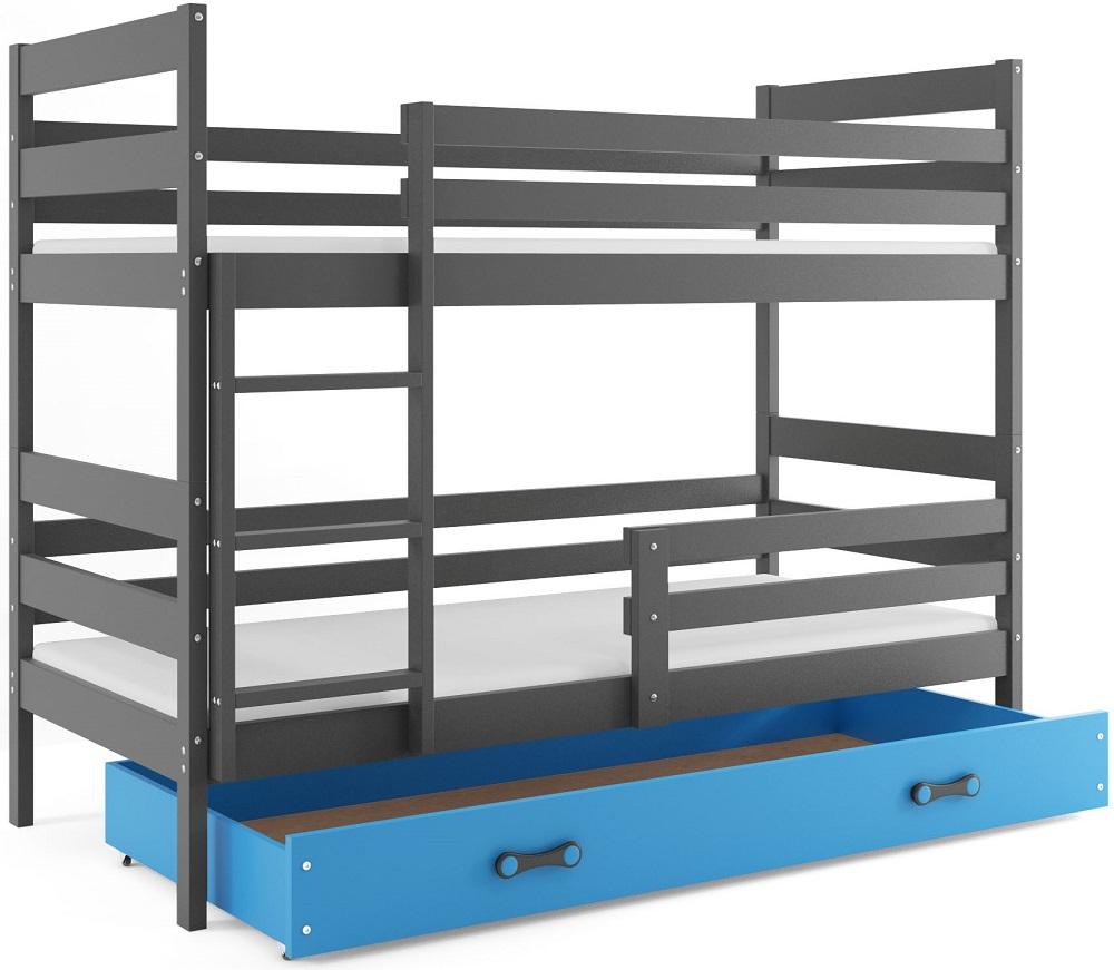 BMS Detská poschodová posteľ Eryk / sivá Farba: Sivá / Modrá, Rozmer.: 190 x 80 cm