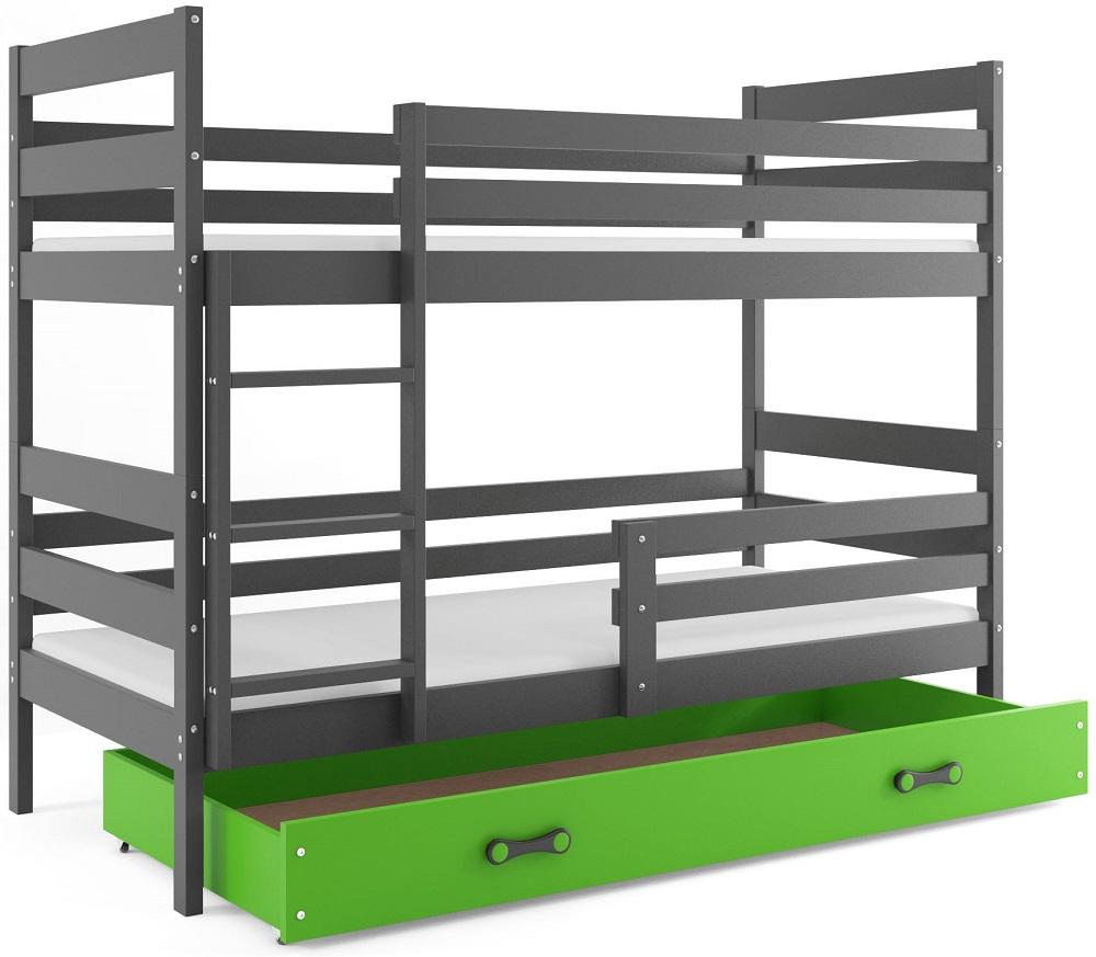 BMS Detská poschodová posteľ Eryk / sivá Farba: Sivá / zelená, Rozmer.: 190 x 80 cm