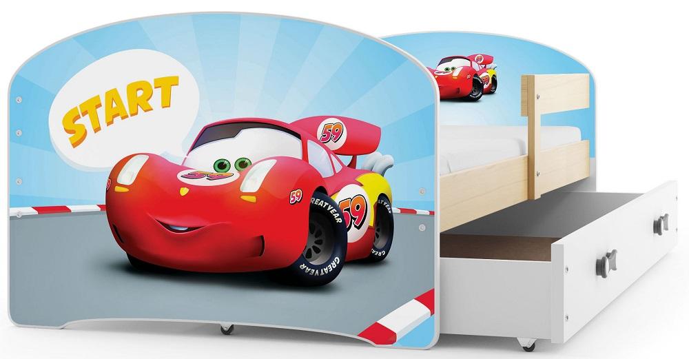 BMS Detská obrázková posteľ Luki /borovica Obrázok: Auto