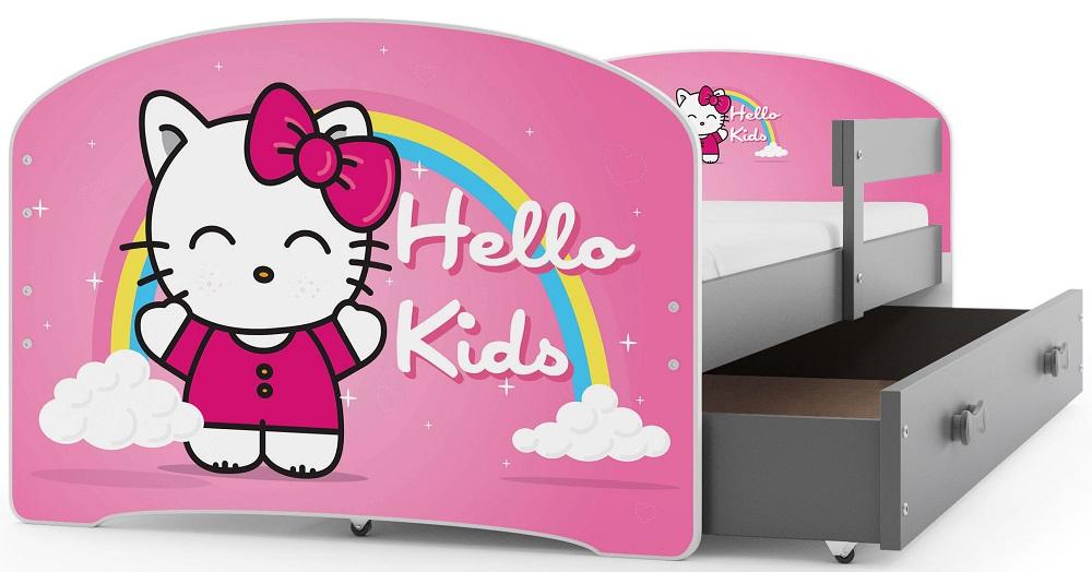 BMS Detská obrázková posteľ Luki / sivá Obrázok: Hello Kids