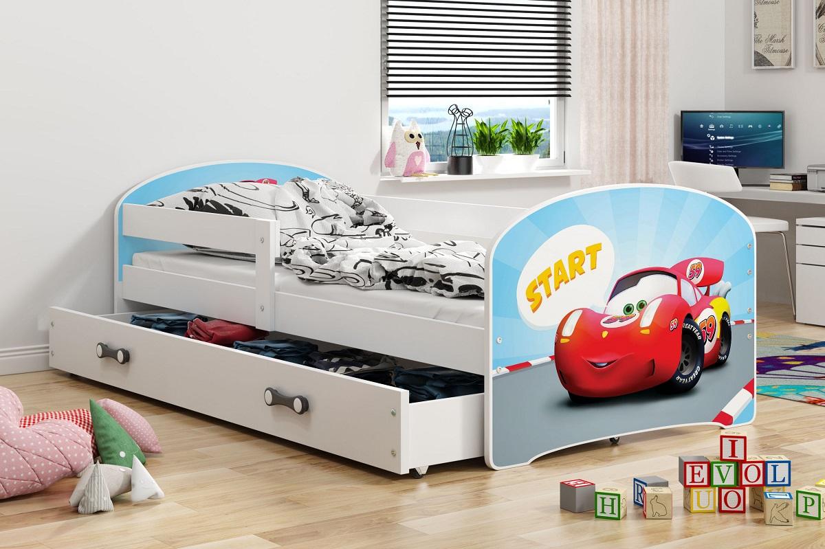 BMS Detská obrázková posteľ Luki / biela Obrázok: Auto