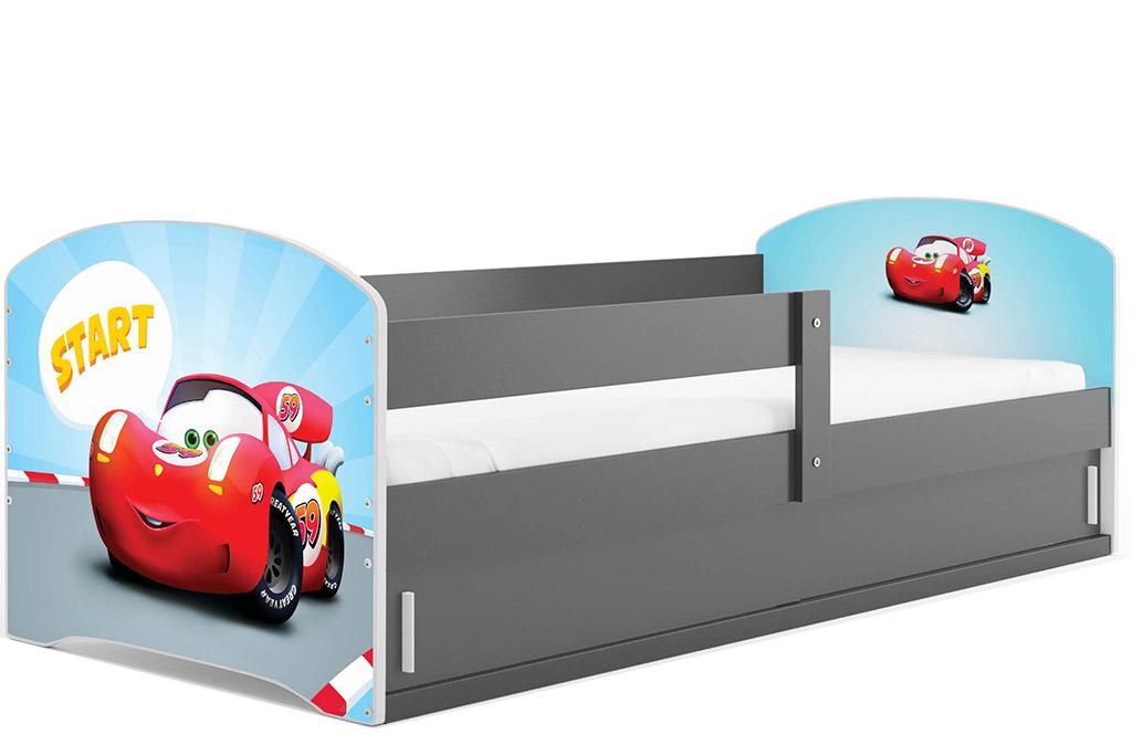 BMS Detská obrázková posteľ LUKI 1 /SIVÁ Obrázok: Auto