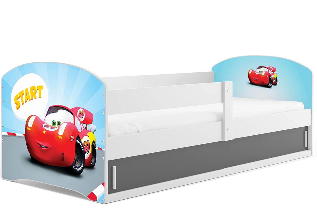 BMS Detská obrázková posteľ LUKI 1 / BIELA Obrázok: Auto