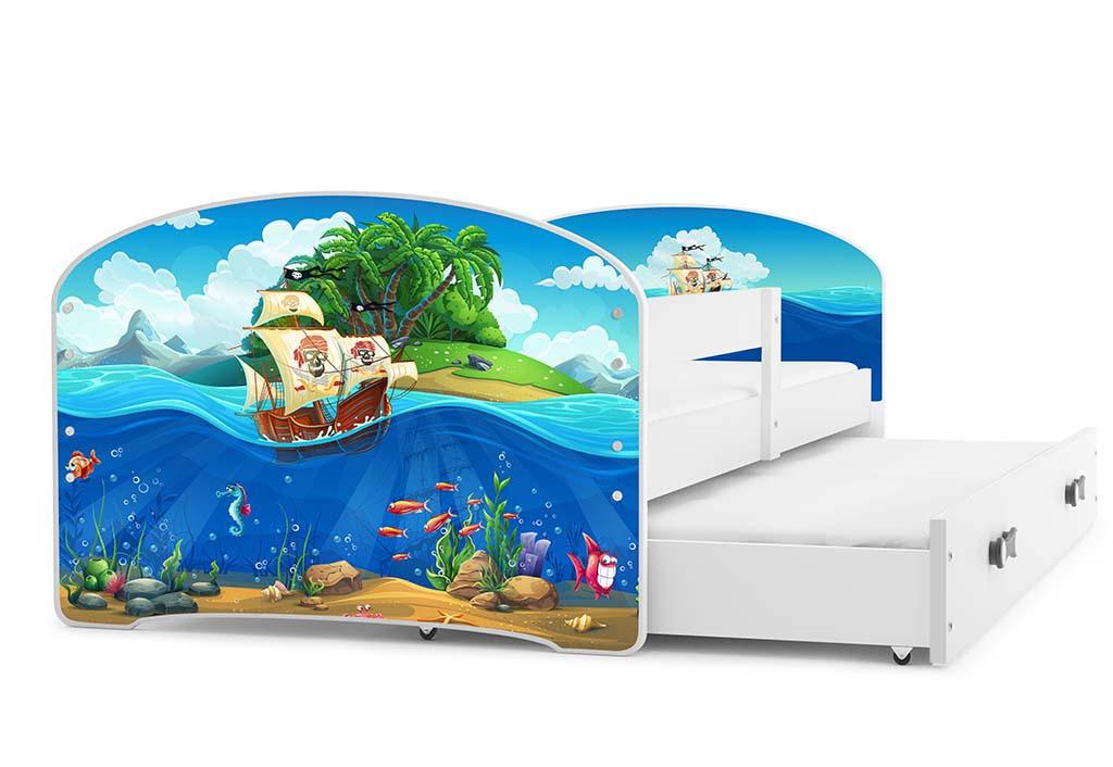 BMS Detská obrázková posteľ Luki s prístelkou / biela Obrázok: Piráti