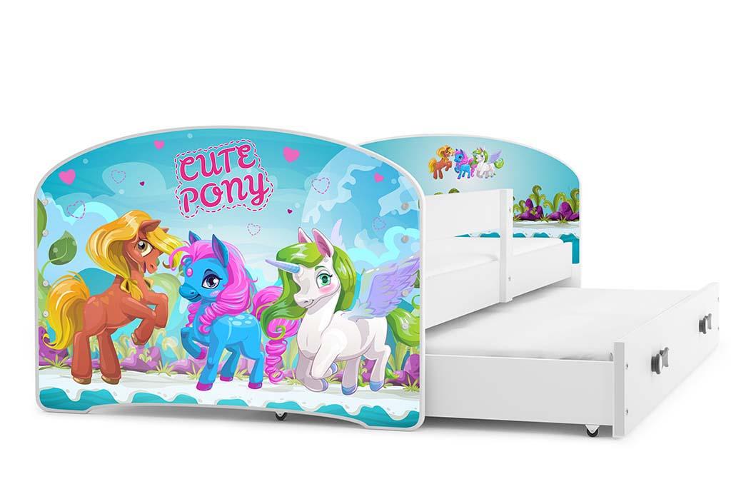 BMS Detská obrázková posteľ Luki s prístelkou / biela Obrázok: Pony