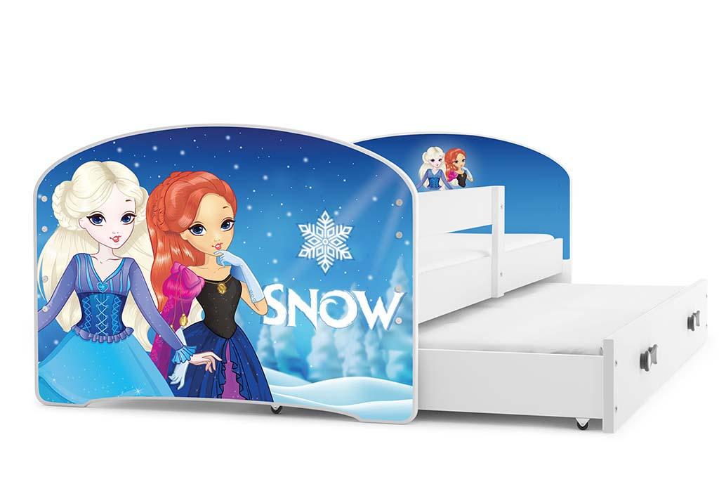 BMS Detská obrázková posteľ Luki s prístelkou / biela Obrázok: Snow