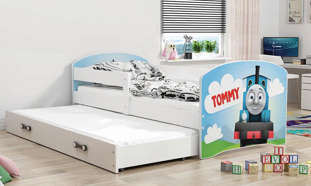 BMS Detská obrázková posteľ Luki s prístelkou / biela Obrázok: Tommy