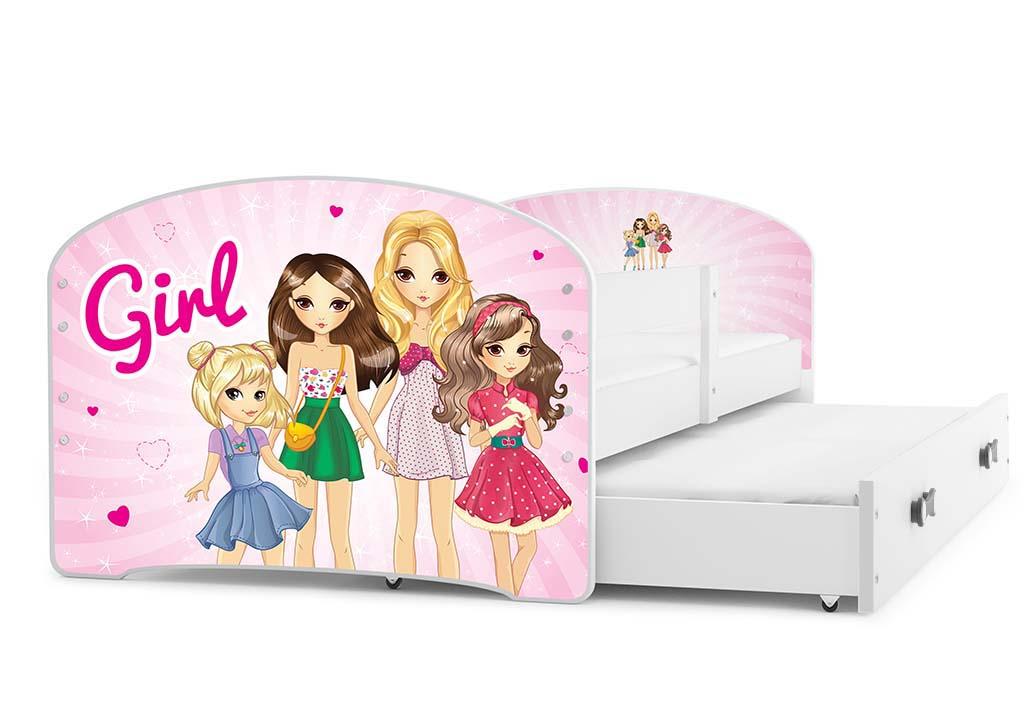 BMS Detská obrázková posteľ Luki s prístelkou / biela Obrázok: Girls