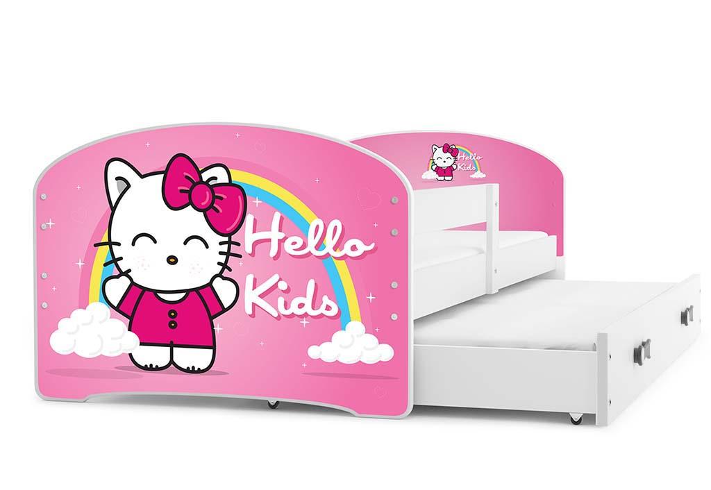 BMS Detská obrázková posteľ Luki s prístelkou / biela Obrázok: Hello Kids