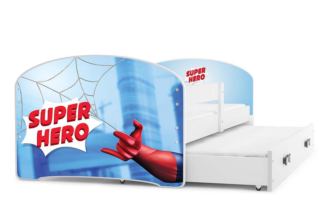 BMS Detská obrázková posteľ Luki s prístelkou / biela Obrázok: Super Hero