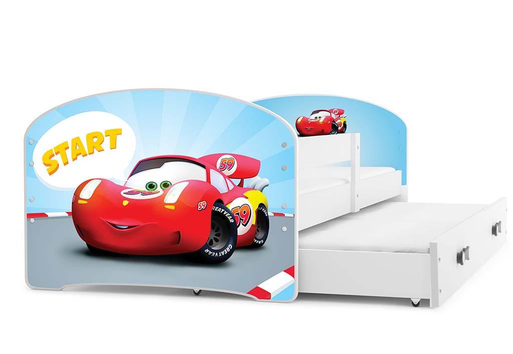 BMS Detská obrázková posteľ Luki s prístelkou / biela Obrázok: Auto
