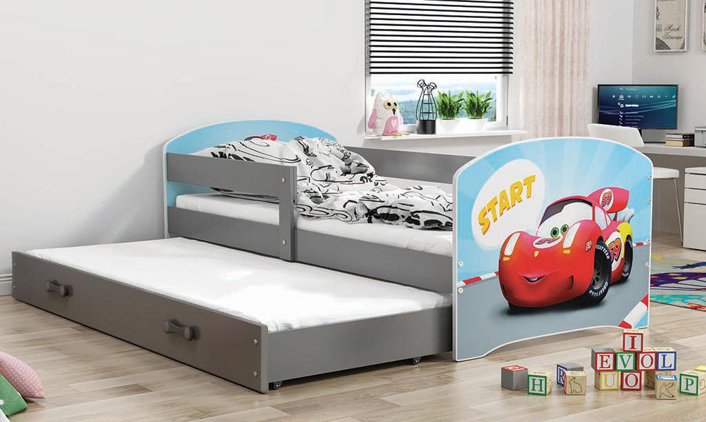 BMS Detská obrázková posteľ Luki 2 s prístelkou / sivá Obrázok: Auto