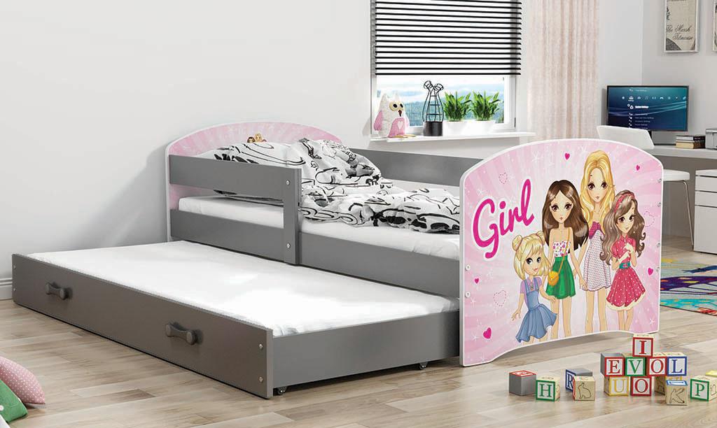 BMS Detská obrázková posteľ Luki s prístelkou / sivá Obrázok: Girls