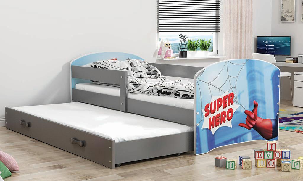 BMS Detská obrázková posteľ Luki s prístelkou / sivá Obrázok: Super Hero