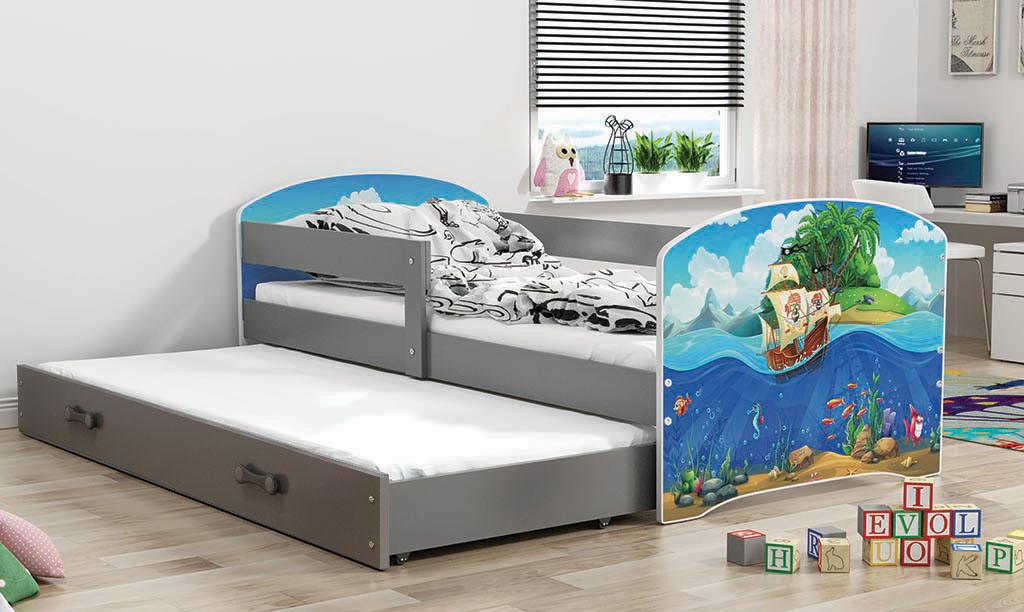 BMS Detská obrázková posteľ Luki s prístelkou / sivá Obrázok: Piráti