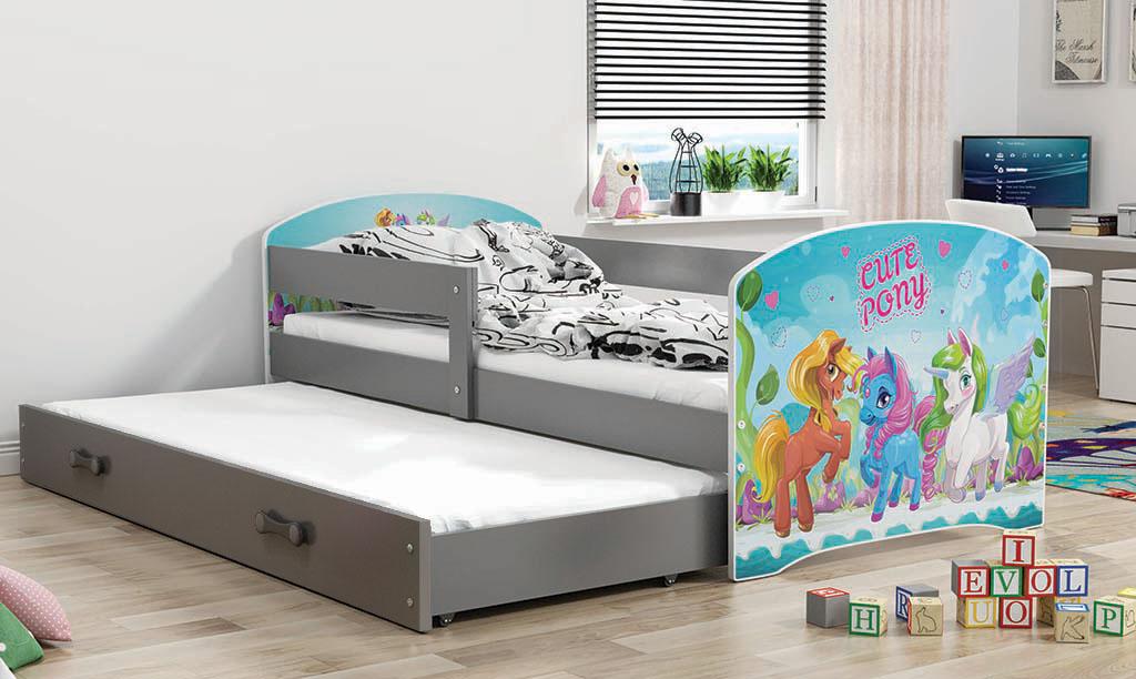 BMS Detská obrázková posteľ Luki s prístelkou / sivá Obrázok: Pony