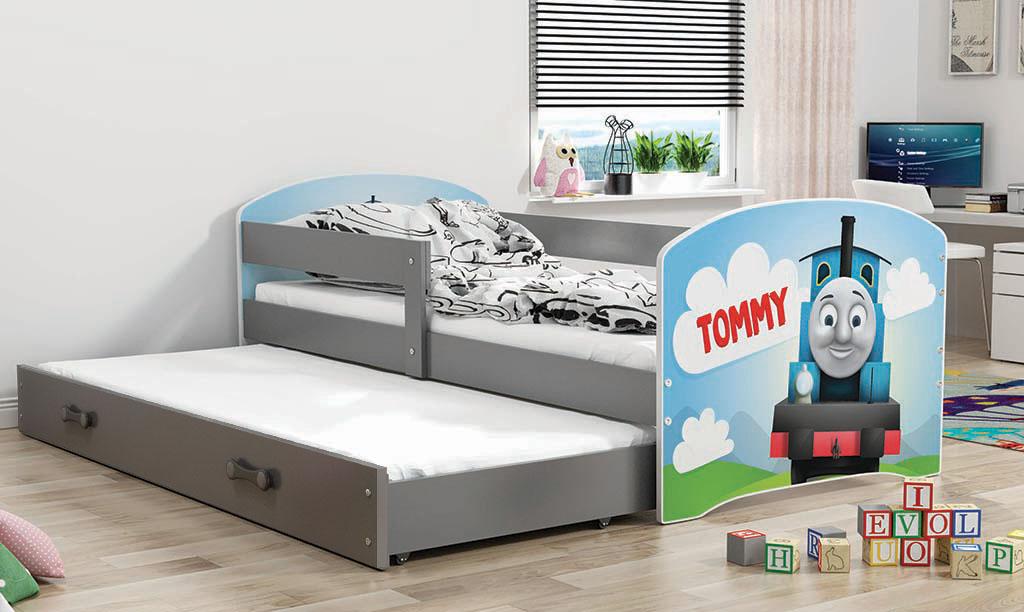 BMS Detská obrázková posteľ Luki s prístelkou / sivá Obrázok: Tommy