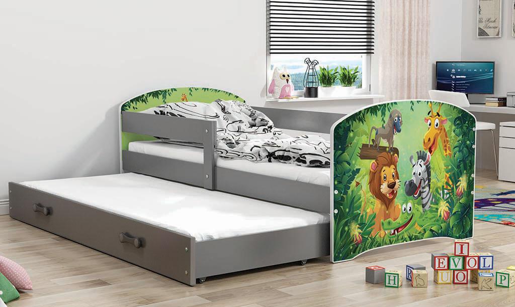 BMS Detská obrázková posteľ Luki s prístelkou / sivá Obrázok: ZOO