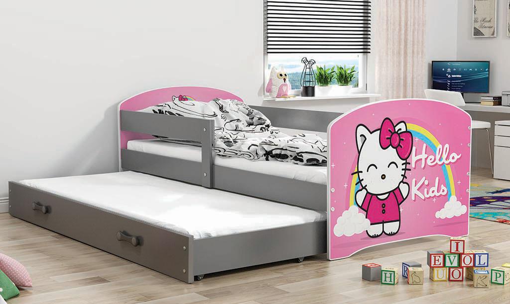 BMS Detská obrázková posteľ Luki s prístelkou / sivá Obrázok: Hello Kids