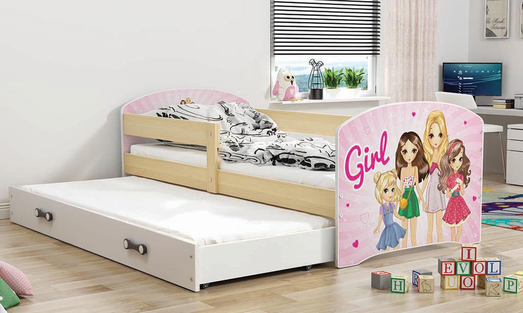 BMS Detská obrázková posteľ Luki s prístelkou / borovica Obrázok: Girls