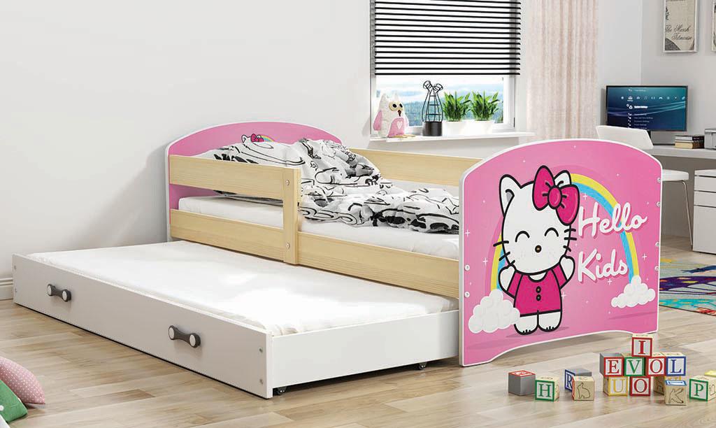 BMS Detská obrázková posteľ Luki 2 s prístelkou / borovica Obrázok: Hello Kids