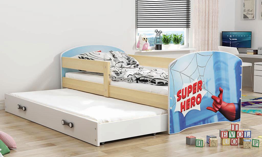 BMS Detská obrázková posteľ Luki s prístelkou / borovica Obrázok: Super Hero