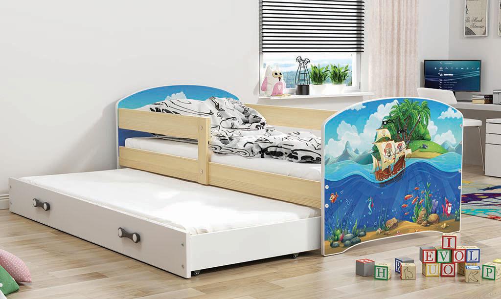 BMS Detská obrázková posteľ Luki s prístelkou / borovica Obrázok: Piráti