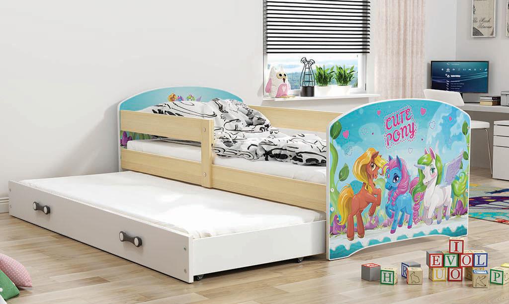 BMS Detská obrázková posteľ Luki s prístelkou / borovica Obrázok: Pony