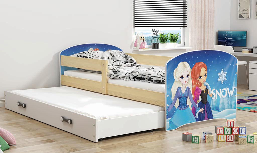 BMS Detská obrázková posteľ Luki s prístelkou / borovica Obrázok: Snow