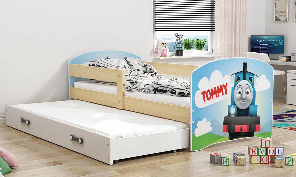 BMS Detská obrázková posteľ Luki s prístelkou / borovica Obrázok: Tommy