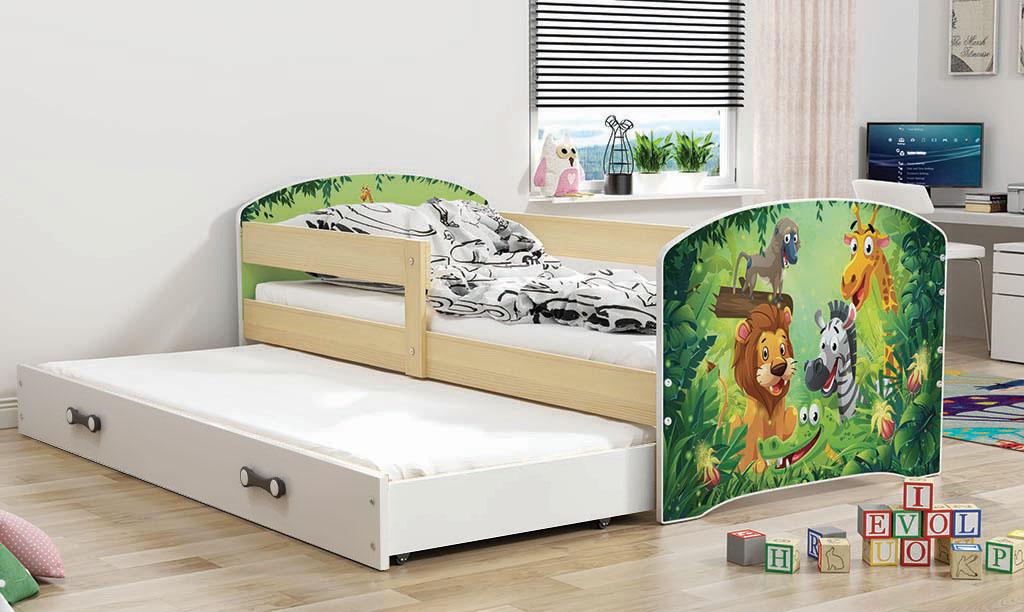 BMS Detská obrázková posteľ Luki s prístelkou / borovica Obrázok: ZOO