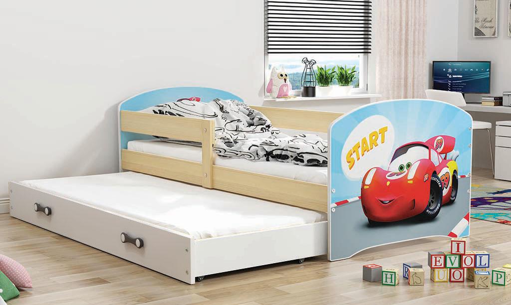 BMS Detská obrázková posteľ Luki 2 s prístelkou / borovica Obrázok: Auto
