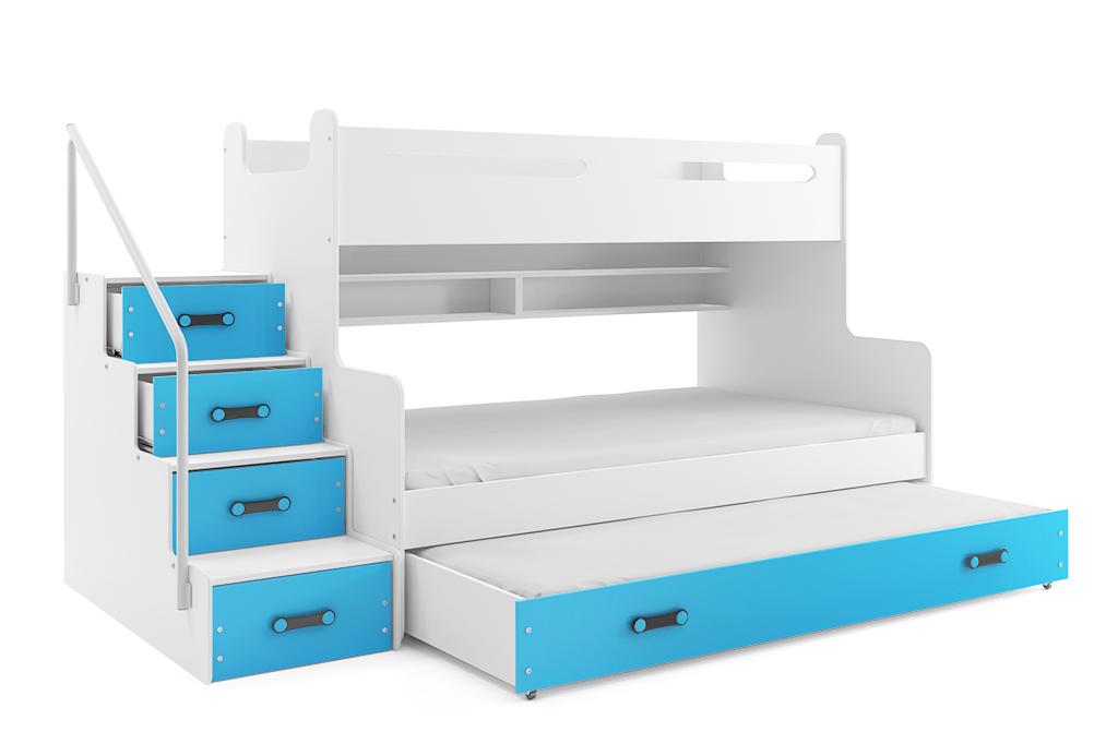 BMS Detská poschodová posteľ Max 3 s prístelkou Farba: Modrá