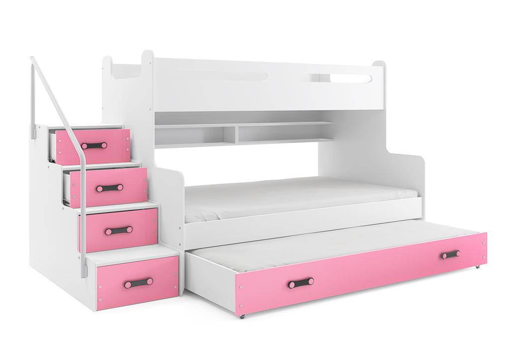 BMS Detská poschodová posteľ Max 3 s prístelkou Farba: Ružová