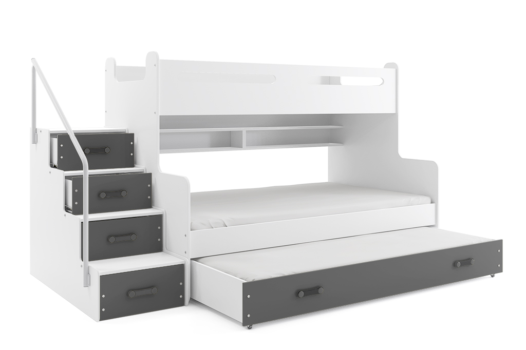 BMS Detská poschodová posteľ Max 3 s prístelkou Farba: Sivá