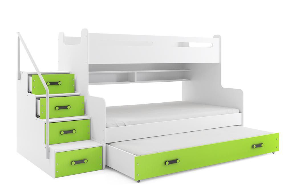 BMS Detská poschodová posteľ Max 3 s prístelkou Farba: Zelená