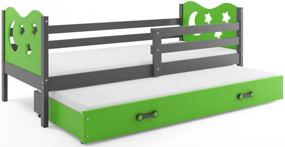BMS Detská posteľ Miko s prístelkou / sivá Farba: Sivá / zelená