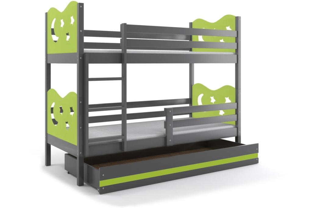 BMS Poschodová detská posteľ Miko / Sivá Farba: Sivá / zelená