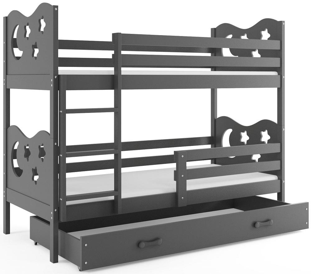 BMS Poschodová detská posteľ Miko / Sivá Farba: Sivá / sivá, 200x90cm