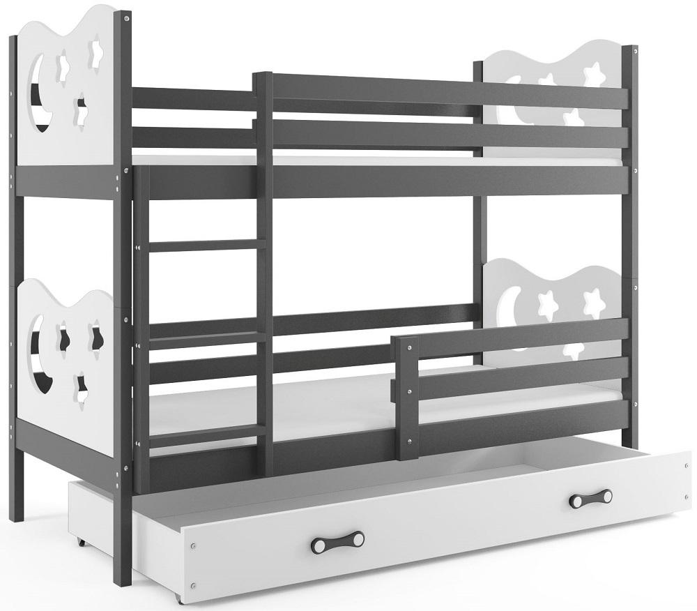 BMS Poschodová detská posteľ Miko / Sivá Farba: Sivá / biela, Rozmer.: 200 x 90 cm