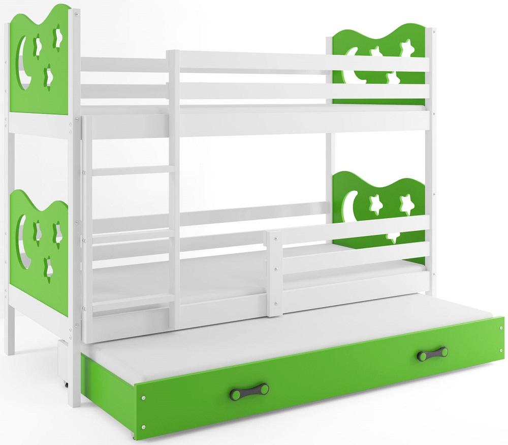 BMS Poschodová detská posteľ Miko s prístelkou / Biela Farba: Zelená, Rozmer.: 200 x 90 cm