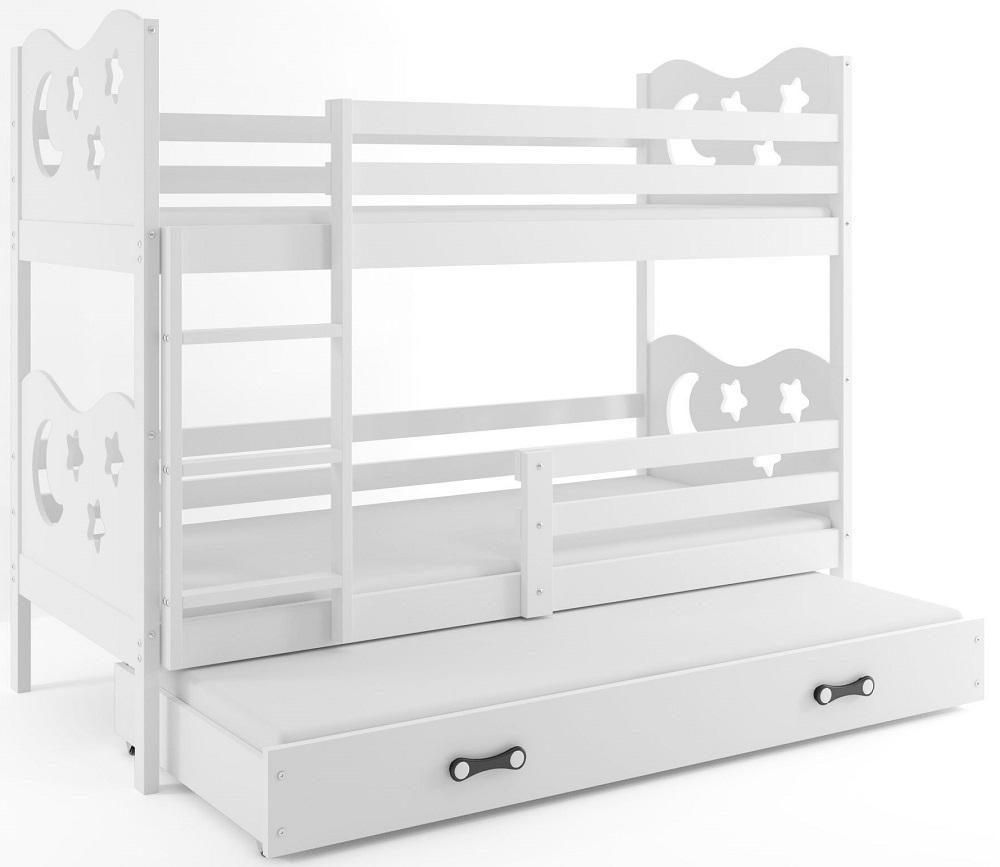 BMS Poschodová detská posteľ Miko s prístelkou / Biela Farba: Biela, Rozmer.: 160 x 80 cm