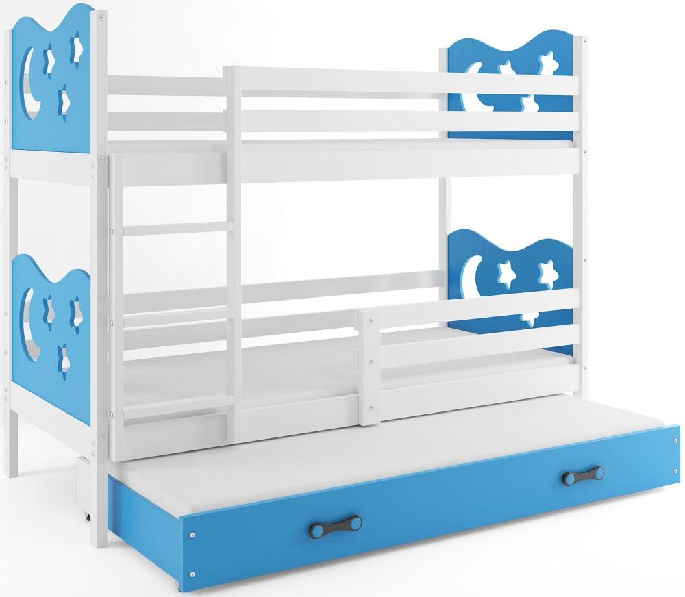 BMS Poschodová detská posteľ Miko s prístelkou / Biela Farba: Modrá, Rozmer.: 200 x 90 cm