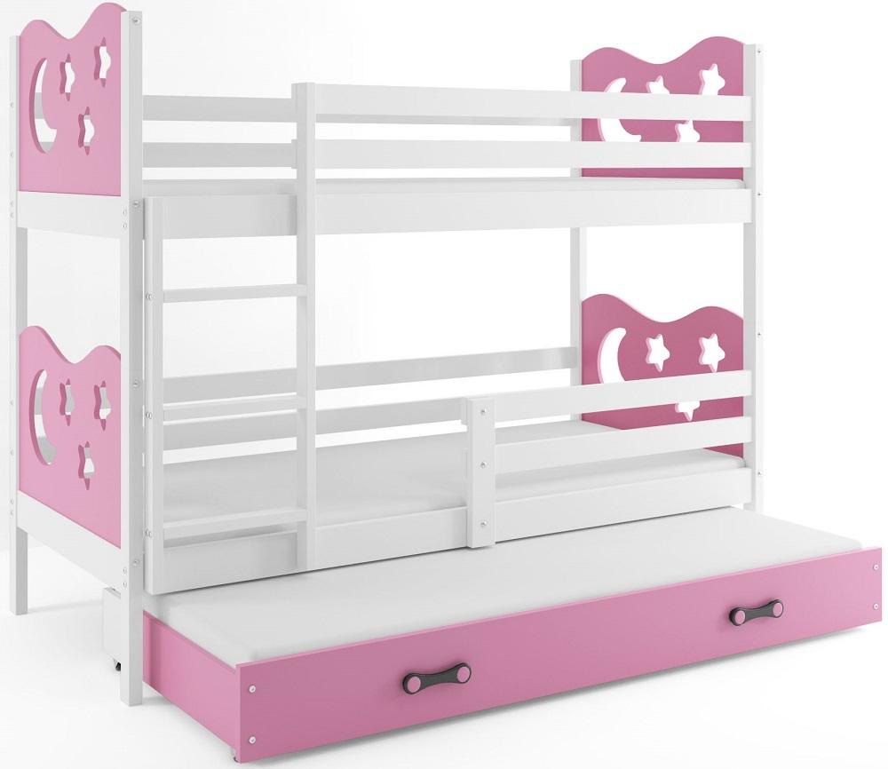 BMS Poschodová detská posteľ Miko s prístelkou / Biela Farba: Ružová, Rozmer.: 200 x 90 cm
