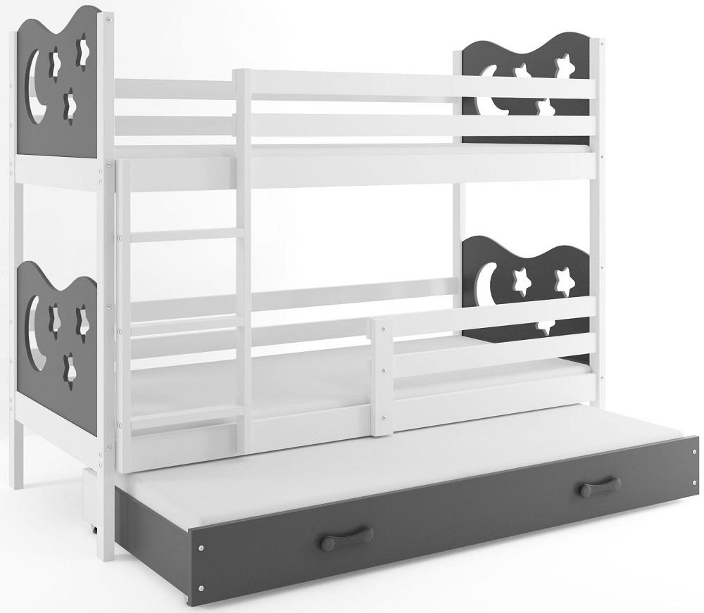 BMS Poschodová detská posteľ Miko s prístelkou / Biela Farba: Sivá, Rozmer.: 200 x 90 cm