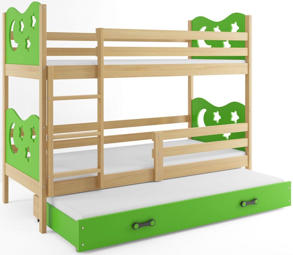 BMS Poschodová detská posteľ Miko s prístelkou / borovica Farba: Zelená, Rozmer.: 160 x 80 cm