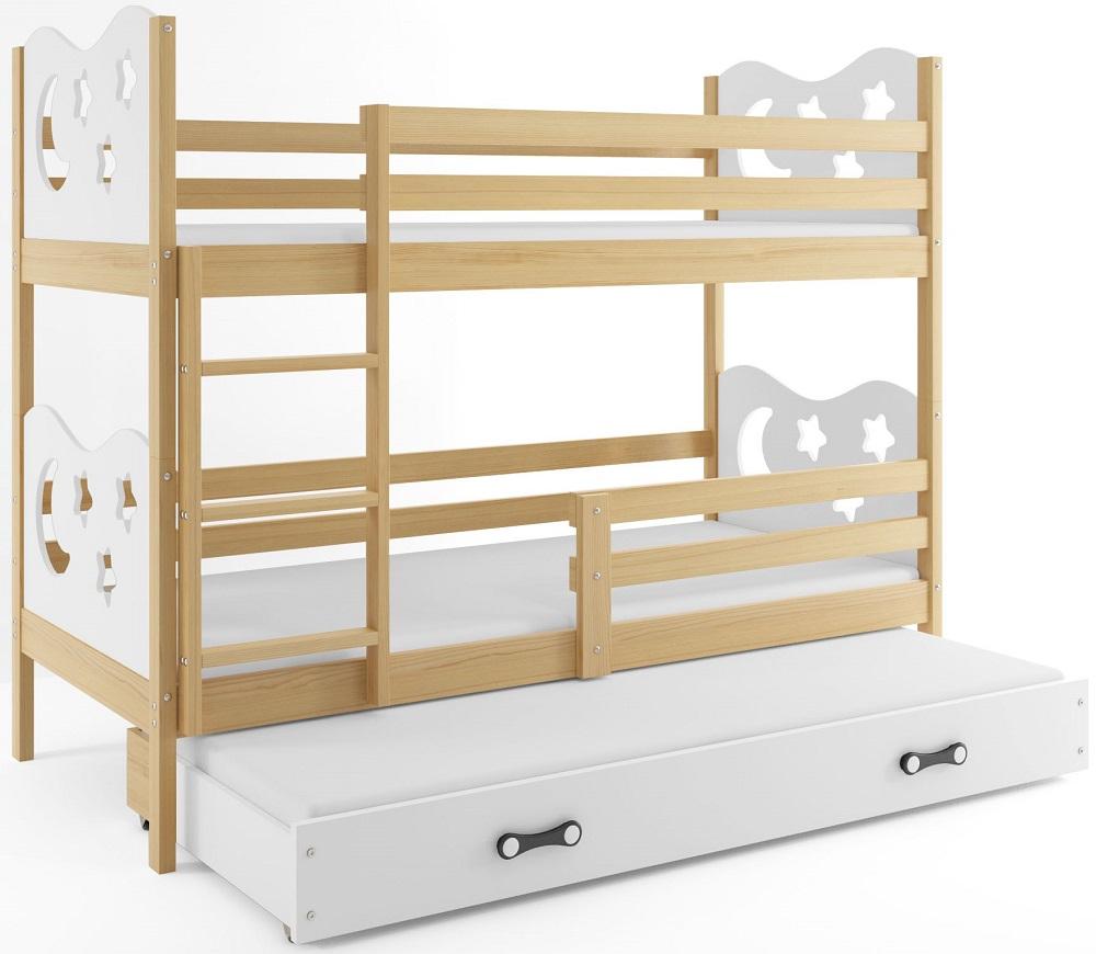BMS Poschodová detská posteľ Miko s prístelkou / borovica Farba: Biela, Rozmer.: 200 x 90 cm