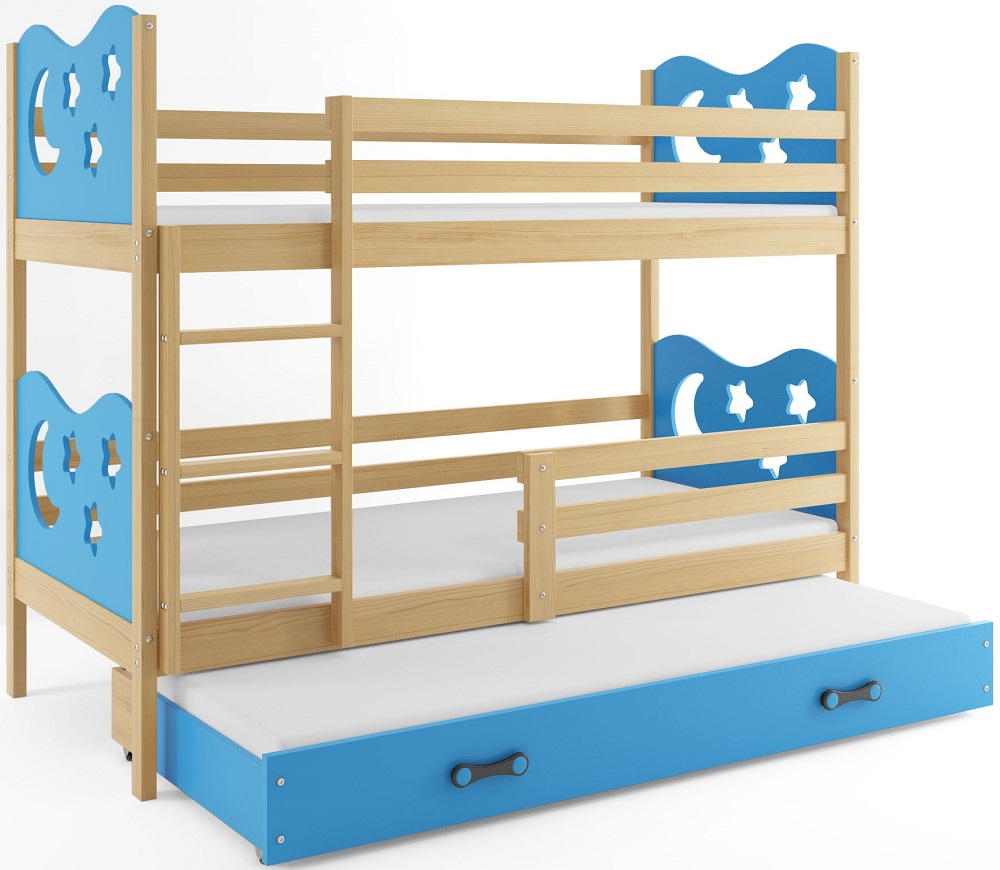 BMS Poschodová detská posteľ Miko s prístelkou / borovica Farba: Modrá, Rozmer.: 160 x 80 cm
