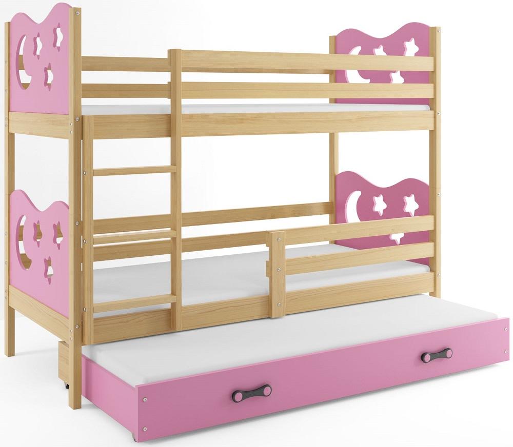 BMS Poschodová detská posteľ Miko s prístelkou / borovica Farba: Ružová, Rozmer.: 160 x 80 cm