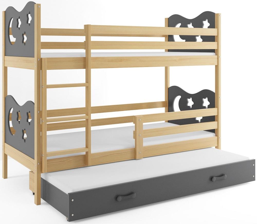 BMS Poschodová detská posteľ Miko s prístelkou / borovica Farba: Sivá, Rozmer.: 160 x 80 cm